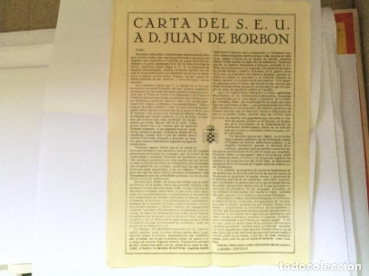 CARTA DEL S.E.U. A D. JUANDE BORBON (Coleccionismo - Documentos - Otros documentos)