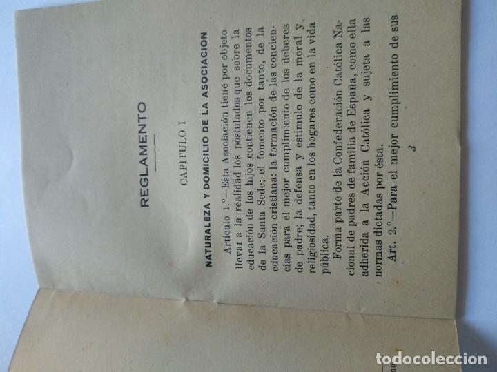 Documentos antiguos: REGLAMENTO DE LA ACCIÓN CATOLICA DE P0ADRES DE FAMILIA DE TARRAGONA - GABRIEL GIBERT IMP. - Foto 3 - 169780500