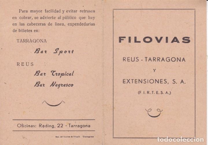 FILOVIAS REUS TARRAGONA AÑOS 50 FIRTESA IMP. SUC. TORRES Y VIRGILI TARRAGONA (Coleccionismo - Documentos - Otros documentos)