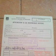 Documentos antiguos: TARJETA AFILIACION A LA SEGURIDAD SOCIAL - AÑOS 60. Lote 169968828