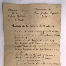 Documentos antiguos: VILLANUEVA DE LOS INFANTES (CIUDAD REAL) OBISPADO PRIORATO DE LAS ORDENES MILITARES.. Lote 169982433
