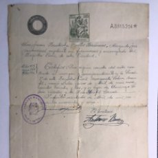 Documentos antiguos: INFANTES (CIUDAD REAL) DOCUMENTO NOTARIAL INSCRIPCIÓN DE REGISTRO NACIMIENTO EN LA CIUDAD (A.1941). Lote 169995050