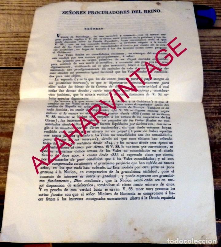 BILBAO, 1835, CARTA DE VICENTE DE SARACHAGA A LOS PROCURADORES DEL REINO, TEMA VALES REALES (Coleccionismo - Documentos - Otros documentos)