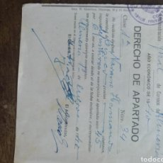 Documentos antiguos: DERECHO DE APARTADO ALMERÍA 1940. Lote 170008366
