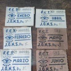 Documentos antiguos: CUPONES DE FALANGE 1940 6 CORRELATIVOS. Lote 170012044