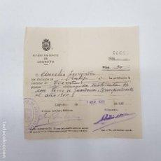 Documentos antiguos: RECIBO AYUNTAMIENTO DE LOGROÑO. MATRÍCULA DE UN PERRO DE GUARDERÍA.1955. TDKP14. Lote 170028332