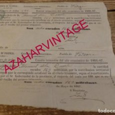 Documentos antiguos: PEDRAZA, PALENCIA, 1867, CONTRIBUCION TERRITORIAL. Lote 170050644