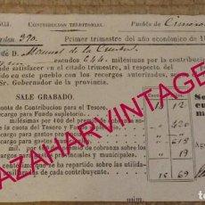 Documentos antiguos: CISNEROS, PALENCIA, 1867, CONTRIBUCION TERRITORIAL. Lote 170051740