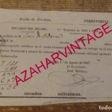 Documentos antiguos: FRECHILLA, PALENCIA, 1867, CONTRIBUCION TERRITORIAL. Lote 170051960