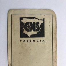 Documentos antiguos: VALENCIA. CARNET SINDICAL CNS. F.E,T Y DE LAS J.O.N.S. SINDICATO LOCAL DE IND. QUÍMICAS (A.1942). Lote 170138101