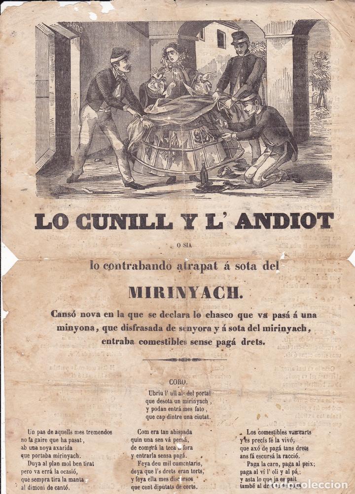 LO CUNILL Y L'ANDIOT BARCELONA EN CASA JUAN LLORENS CARRER PALMA STA. CATARINA 1858 (Coleccionismo - Documentos - Otros documentos)