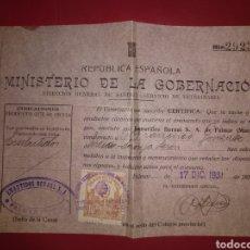 Documentos antiguos: COLEGIO VETERINARIO MURCIA. MINISTERIO GOBERNACIÓN 1931. EMBUTIDOS BERNAL. REPÚBLICA ESPAÑOLA. Lote 170156352