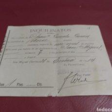 Documentos antiguos: INQUILINATOS. SOCIEDAD MINERA CABARGA SAN MIGUEL. 1914. SERÓN ALMERÍA. Lote 170220456