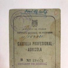 Documentos antiguos: BENALUP DE SIDONIA (CÁDIZ) CARNET DOCUMENTO CARTILLA PROFESIONAL AGRICOLA (A.1969). Lote 170466657