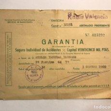 Documentos antiguos: VALENCIA. PÓLIZA SEGURO AUTOMÓVILES. EMISORA RADIO VALENCIA. UNIÓN DE RADIOYENTES (A.1960). Lote 170466669
