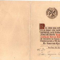 Documents Anciens: CARTA INEDITA Y AUTOGRAFA DEL BEATO VALENTIN DE BERRIO-OCHOA. INCLUYE RELIQUIA DEL BEATO. AÑOS 80. Lote 170514264