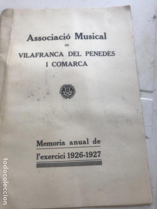 ASSOCIACIÓ MUSICAL DE VILAFRANCA DEL PENEDÈS I COMARCA MEMORIA ANUAL 1926-1927. (Coleccionismo - Documentos - Otros documentos)