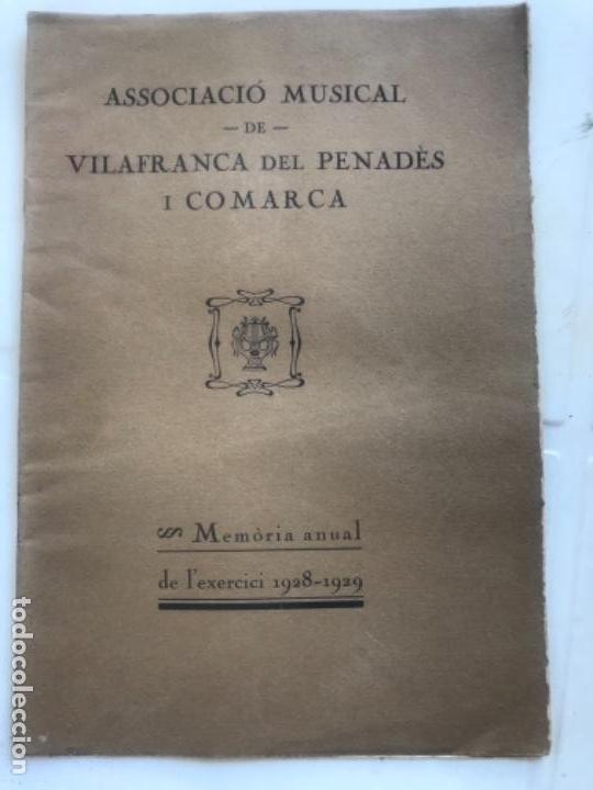 ASSOCIACIÓ MUSICAL DE VILAFRANCA DEL PENEDÈS I COMARCA MEMORIA ANUAL 1928-1929. (Coleccionismo - Documentos - Otros documentos)