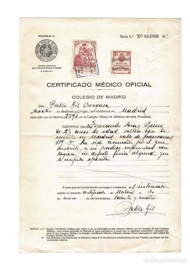CERTIFICADO MEDICO OFICIAL. SELLO FILATELICO COLEGIO DEL PRINCIPE DE ASTURIAS. 1934 (Coleccionismo - Documentos - Otros documentos)