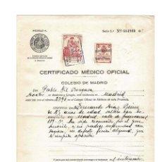Documentos antiguos: CERTIFICADO MEDICO OFICIAL. SELLO FILATELICO COLEGIO DEL PRINCIPE DE ASTURIAS. 1934. Lote 171024540