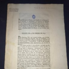 Documentos antiguos: ABOLICIÓN DEL TRIBUNAL DE LA INQUISICIÓN. VALENCIA 1813.. Lote 171049927