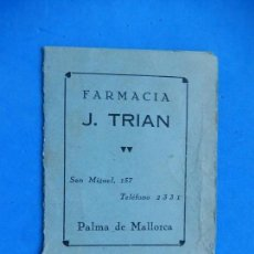 Documentos antiguos: CARNET / DOCUMENTO IDENTIFICATIVO. FARMACIA J. TRIAN. PALMA DE MALLORCA. BALEARES.. Lote 171059910