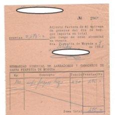 Documentos antiguos: SANTA PERPETUA DE MOGUDA, 1951: HERMANDAD SINDICAL DE LABRADORES Y GANADEROS - ENTREGA DE CUPO FORZO. Lote 171103773