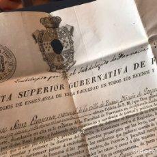 Documentos antiguos: TÍTULO FARMACÉUTICO. SELLO PRIMERO 1833. ZUERA ZARAGOZA.. Lote 171115732