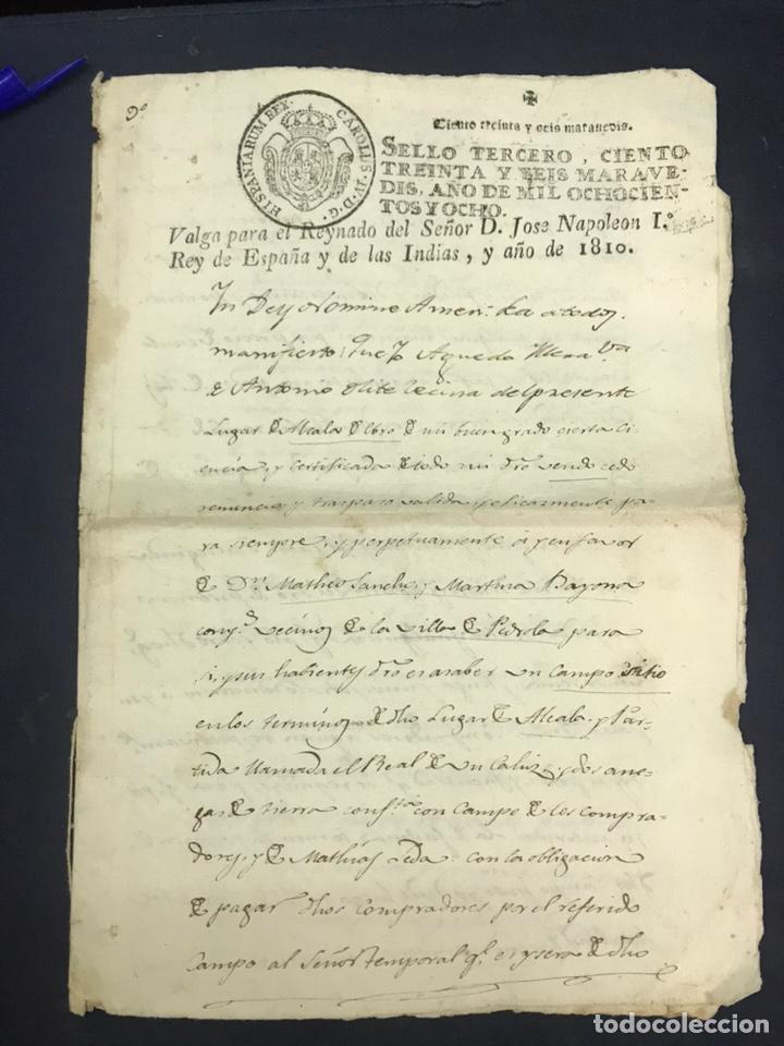 Documentos antiguos: Muy raro fiscal. SELLO TERCERO 1808. Habilitado NAPOLEÓN I 1810. Guerra Independencia. - Foto 2 - 171128027