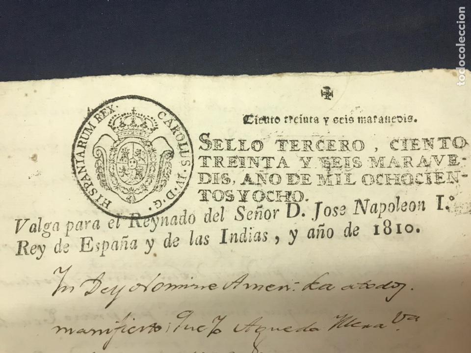 MUY RARO FISCAL. SELLO TERCERO 1808. HABILITADO NAPOLEÓN I 1810. GUERRA INDEPENDENCIA. (Coleccionismo - Documentos - Otros documentos)