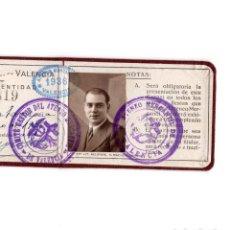 Documentos antiguos: REPÚBLICA CARNET IDENTIDAD ATENEO MERCANTIL DE VALENCIA - 1936 - GUERRA CIVIL. Lote 171138737