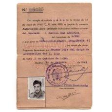 Documentos antiguos: AUTORIZACIÓN PARA CONDUCIR MOTOCICLETAS. REGIMIENTO DRAGONES DE PAVIA - 1946 . Lote 171138789