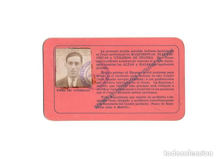TARJETA PROFESIONAL DE IDENTIDAD, DEPENDENCIA DE ESPECTACULOS DE MADRID 1930 (Coleccionismo - Documentos - Otros documentos)
