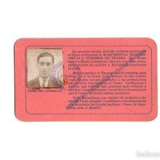 Documentos antiguos: TARJETA PROFESIONAL DE IDENTIDAD, DEPENDENCIA DE ESPECTACULOS DE MADRID 1930 . Lote 171138889