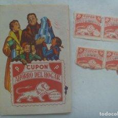 Documentos antiguos: LOTE DE LIBRETA PARA CUPONES AHORRO DEL HOGAR ( COMPLETA ) Y CUPONES SUELTOS. BARCELONA, AÑOS 50. Lote 171163872
