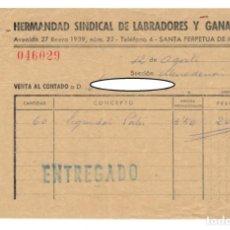 Documentos antiguos: SANTA PERPETUA DE MOGUDA, 1958: HERMANDAD SINDICAL DE LABRADORES Y GANADEROS - RECIBO. Lote 171215602