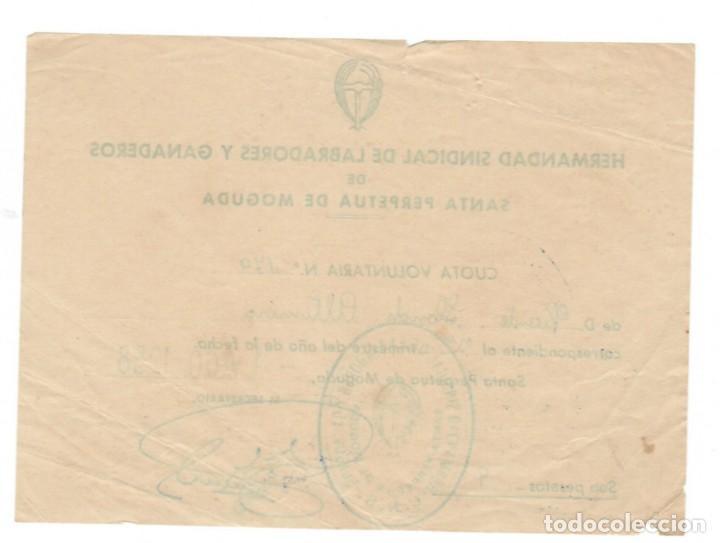 Documentos antiguos: Santa Perpetua de Moguda, 1958: Hermandad Sindical de Labradores y Ganaderos - Recibo - Foto 2 - 171215614