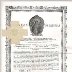 Documentos antiguos: CERTIFICADO ADMISIÓN VENERABLE ORDEN TERCERA DE SIERVOS DE MARÍA SANTÍSIMA DE LOS DOLORES. MADRID.. Lote 171244020