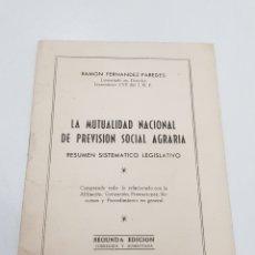 Documentos antiguos: RESUMEN LEGISLATIVO - MUTUALIDAD NACIONAL PREVISIÓN SOCIAL AGRARIA - TDKP14. Lote 171256803
