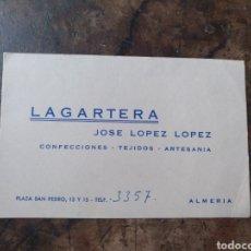 Documentos antiguos: TARJETA AGENTE COMERCIAL LAGARTERA ALMERÍA. Lote 171316734