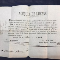 Documentos antiguos: 1858, RECIBO PEDROLA, AGUA ACEQUIA DE LUCENI. TOMÁS BAGÜES.. Lote 171339438