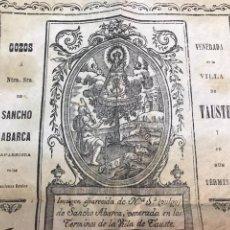 Documentos antiguos: TAUSTE. GOZOS NUESTRA SEÑORA SANCHO ABARCA. XILOGRAFÍA.. Lote 171339958