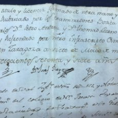 Documentos antiguos: 1777 TÍTULO BOTICARIO VICENTE SANZ DE REMOLINOS (ZARAGOZA). FIRMA TENIENTE PROTOMÉDICO REINO ARAGÓN.. Lote 171347254