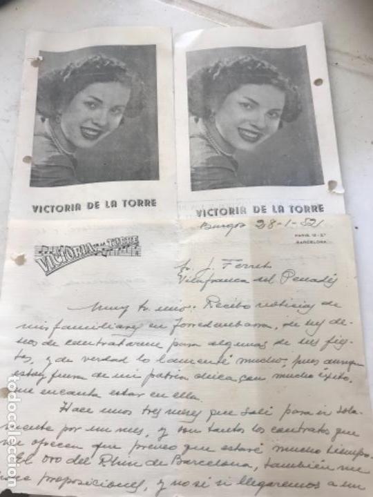 PROGRAMA Y CARTA MANUSCRITA DE VICTORIA DE LA TORRE 1952 LA DIANA DURBIN ESPAÑOLA. (Coleccionismo - Documentos - Otros documentos)