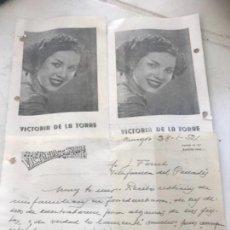 Documentos antiguos: PROGRAMA Y CARTA MANUSCRITA DE VICTORIA DE LA TORRE 1952 LA DIANA DURBIN ESPAÑOLA. . Lote 171397269