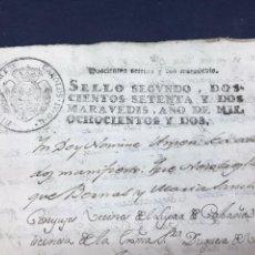 Documentos antiguos: SELLO SEGUNDO 1802. VENTA DE 12 OLIVOS CON TIERRA, PEDROLA.. Lote 171431722