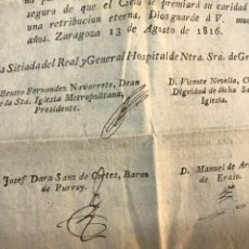 Documentos antiguos: HOSPITAL GENERAL DE GRACIA 1816. ESTADO DEPLORABLE SITIOS DE ZARAGOZA. GUERRA INDEPENDENCIA.. Lote 171435413
