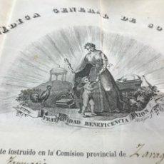 Documentos antiguos: 1850. SOCIEDAD MÉDICA SOCORROS MUTUOS. 6 ACCIONES CLASE EXTRAORDINARIA PENSIÓN.. Lote 171436545