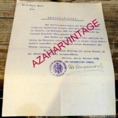 Documentos antiguos: SEVILLA, 1912, CARTA CON MEMBRETE Y SELLO CONSULADO DE ALEMANIA, FIRMA DEL CONSUL, MUY RARO. Lote 171441910
