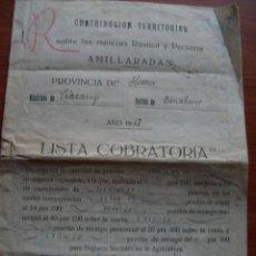 Documentos antiguos: LISTA COBRATORIA 1947 HUESCA VIACAMP CONTRIBUCIÓN TERRITORIAL SOBRE RIQUEZA RÚSTICA Y PECUARIA. Lote 171492889